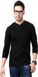 Henley Black T-shirt for Men
