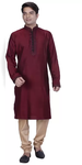 Maroon Embroidered Straight Kurta