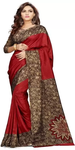 Maroon Printed Silk Saree