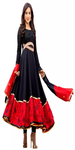 Red and Black Embroidered Anarkali Suit