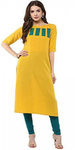 Yellow Plain Kurti