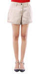 Beige Cotton Pants Shorts