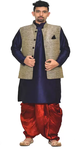Ethnic Jacket, Kurta, and Dhoti Pant
