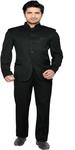 Solid Men's Black Suit